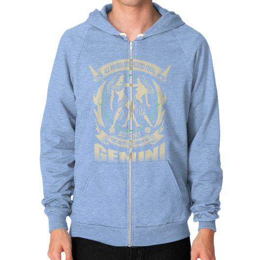 THE BEST ARE BORN AS Gemini Zip Hoodie (on man)