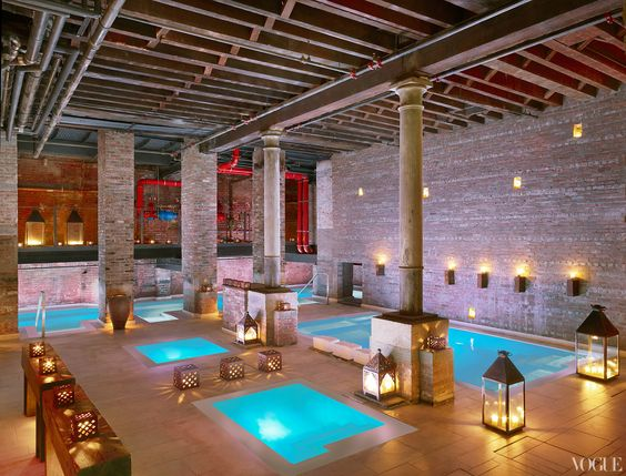 Among mid-century furniture stores and neighborhood restaurants, in a former textile factory built in 1883, Aire Ancient Baths opened its doors today, bringing with it a time-honored bathing-beauty culture.