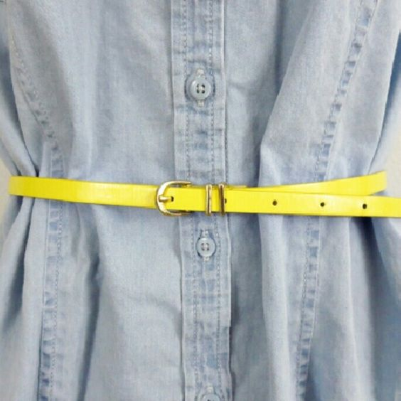 Skinny Yellow Belt, Size L, Forever 21 This is a simple yellow belt with gold…