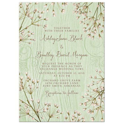 Baby S Breath Wedding Invitation Mint Green Rustic Wood Wedding Invitations Mint Green Cheap Wedding Flowers Real Touch Wedding Flowers