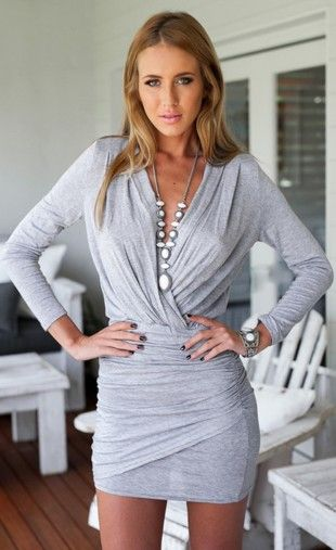 $24.99 Long Sleeve V-neck High Waist Party Dress