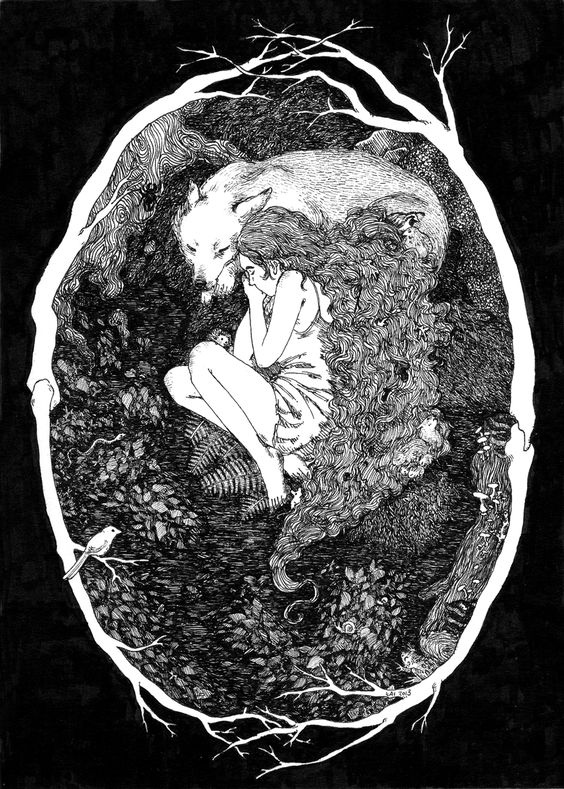 """katphilbin: """" """"I Was Raised by the Forest"""" 5x7"""" Pen and Ink """""""