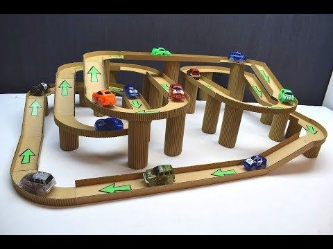 How To Make A Race Track With Magic Cars Out Of Cardboard Youtube Diy Toys Car Cardboard Race Track Car Tracks For Kids