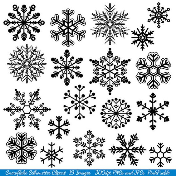 Snowflake Clipart Clip Art Snowflake Silhouette Clip by PinkPueblo, $6.00: