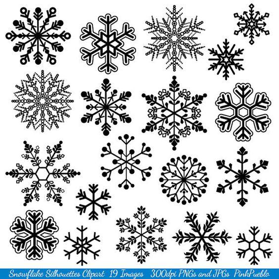Snowflake Clipart Clip Art Snowflake Silhouette Clip by PinkPueblo, $6.00: