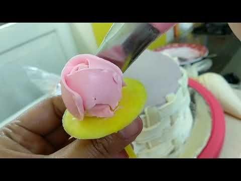 Cara Membuat Bunga Mawar Dari Butter Cream Youtube Butter Cream Cake Decorating Cake