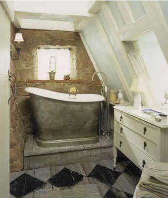 metal tub, Stone Iris' house, country stone cottage the holiday, stone fireplace, holiday stone cottage