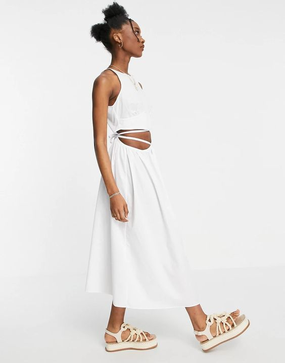 ASOS DESIGN cotton poplin tie wrap midi sundress in white