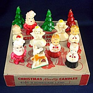 Box 12 Gurley Novelty Figural Christmas Candles. Click on the image for more information.