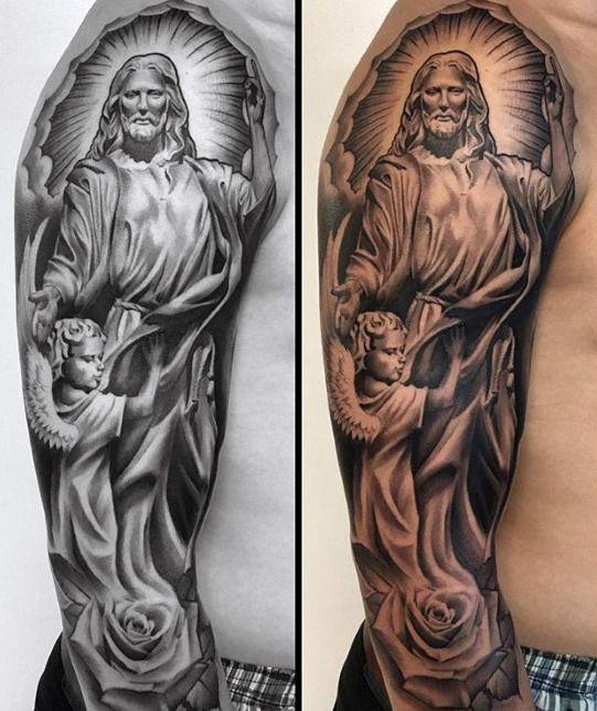 Top 53 Catholic Tattoo Ideas 2020 Inspiration Guide Half Sleeve Tattoo Half Sleeve Tattoos Designs Half Sleeve Tattoos Color