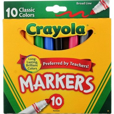 Crayola Broad Line Markers Classic Colors 10 Ct Crayon Set