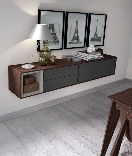 Muebles que aprovechan la pared bufet volado de la for Muebles bonitos para salon