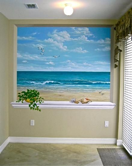 This ocean scene is wonderful for a small room or for Windowless bathroom design ideas
