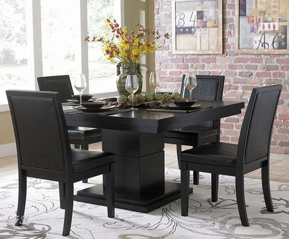 MODERN 5PC CICERO BLACK WOOD SQUARE DINING TABLE SET BYCAST LEATHER CHAIRS