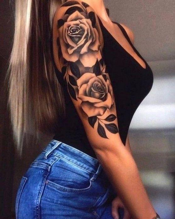 Frauen rosen tattoo oberarm Rosen Tattoo