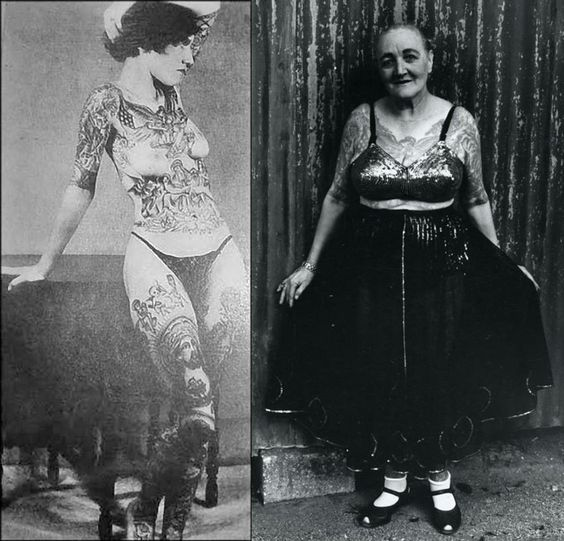 Jean Furella Carroll became a tattooed woman for love. Once a bearded lady in the circus, she met her future husband, but he would not become involved with her because of her beard. So she removed it and had her body covered in tattoos to stay in the business. Pic shows her in the late 1920's and then again in the early 1960's. She passed away in December 1969. #VanishingTattoo #VintageTattoos #TattooHistory #CircusTattoos