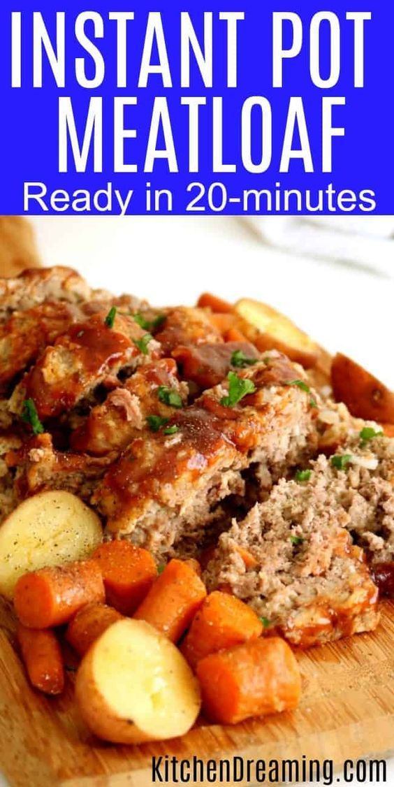 A complete Meatloaf dinner and sides ready in just 20-minutes. If you have a traditional pressure cooker, you can use this recipe as well. #InstantPot #PressureCooker #Recipes #KitchenDreaming via @rjeagle12