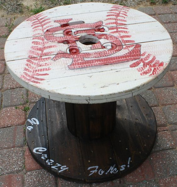 St louis cardinals wooden cable spool table great for for Wooden cable reel ideas