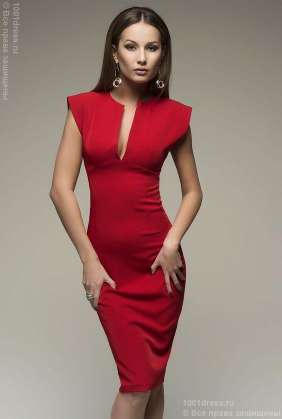 Купить красное платье-футляр без рукавов недорого в интернет-магазине 1001DRESS