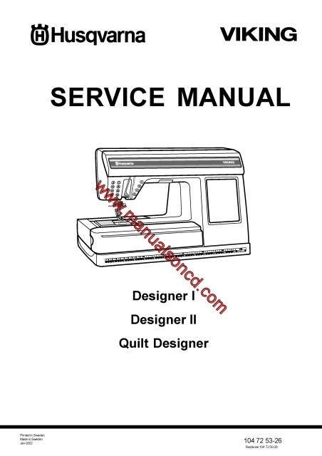 Husqvarna Viking Service Manual Models Designer I
