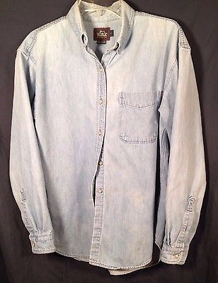 Woolrich Womens Denim Long Sleeve Button Down Shirt Made In USA Size L #loveit #promo http://bayfeeds.com/ebayitem.php?itemid=231693373844