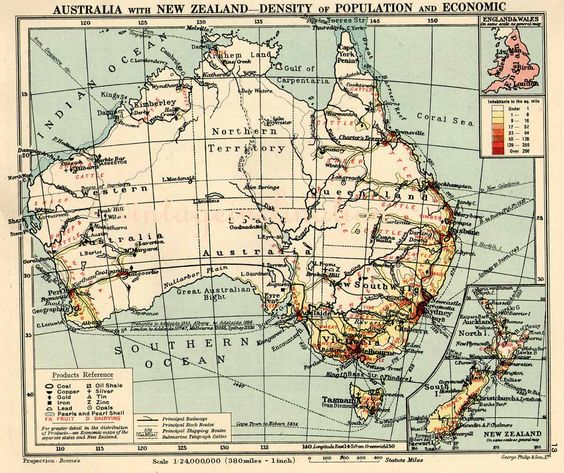 1948 AUSTRALIA map including state by VintageInclination on Etsy