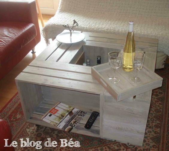 diy table basse bar en bois de palette diy wood pallet coffee table d co pinterest trays. Black Bedroom Furniture Sets. Home Design Ideas