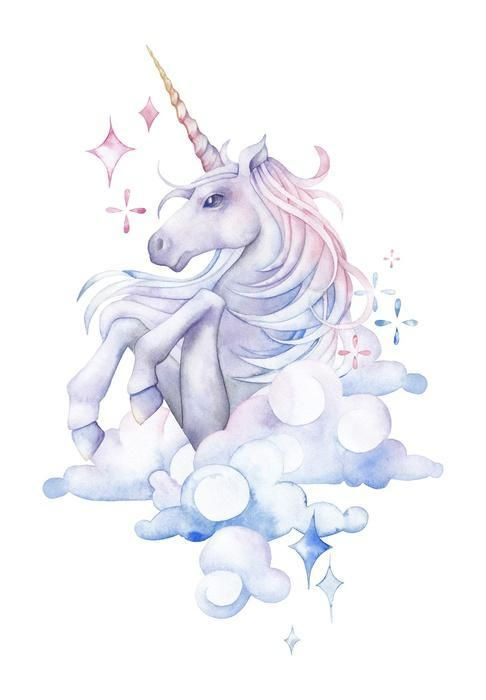 Cute Cloudy Watercolor Unicorn Wall Decal Dauphin Dessin Dessin