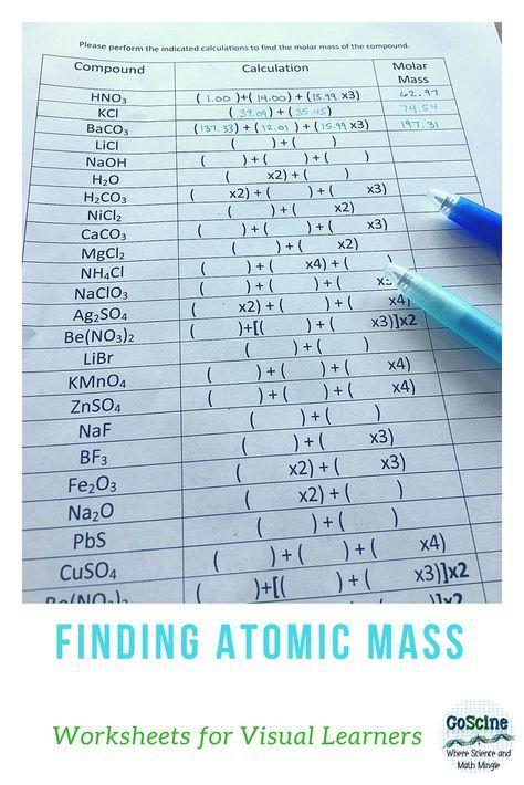 Calculating Molar Masses Molar Mass Science Worksheets Teaching Chemistry