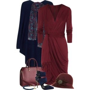 Burgandy and Navy Poncho and Dress Outfit