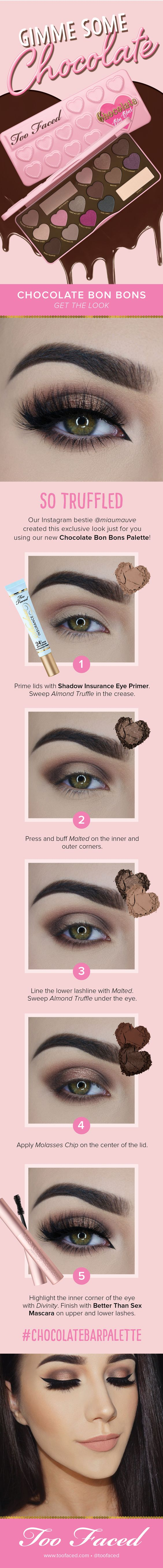 Chocolate Bon Bons is the third palette in the #TooFaced bestselling Chocolate Bar Eye Shadow Collection. The looks are limitless. - Too Faced Cosmetics: