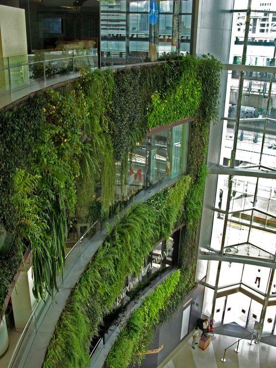 Siam paragon shopping mall vertical garden patrick blanc for Vertical green wall