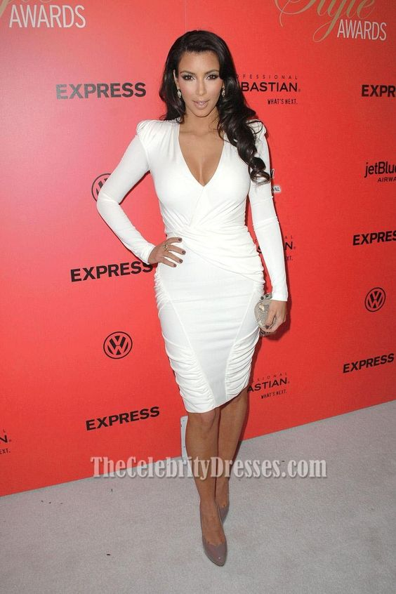 Kim Kardashian White Dress Hollywood Style Awards Red Carpet Red