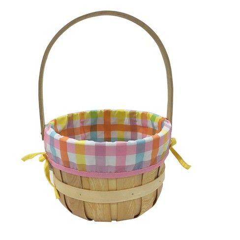 Easter Medium Chipwood Basket with Madras Pattern Liner - Spritz™ : Target