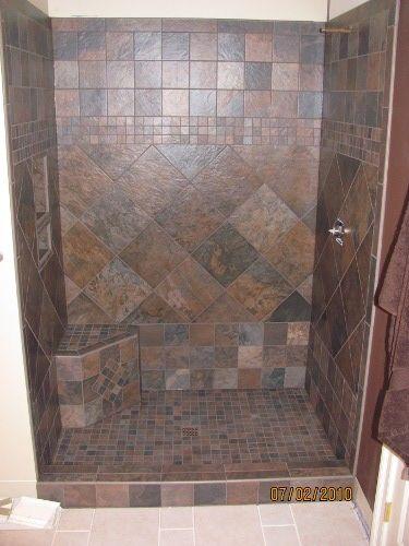 Image detail for  ceramic tile shower with corner bench   bathroom rejects   Pinterest   Shower tiles  The shape and What i want. Image detail for  ceramic tile shower with corner bench   bathroom