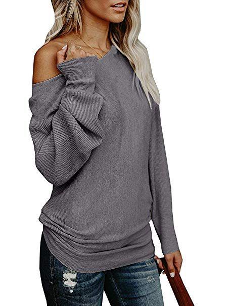 CieKen Womens Off Shoulder Loose Sweater Batwing Sleeve Knit Jumper Top Blouse