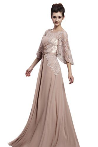 Little Smily Women&-39-s Lace Scoop Neck Long Evening Dress with 3/4 ...