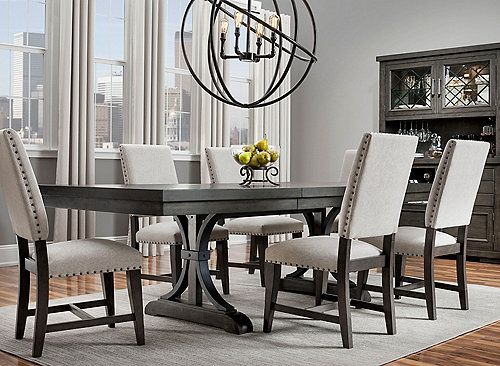 When It Comes To The Halloway 7 Piece Dining Set Strong Lines And Eye Catching Detail Create Dining Sets Modern Dining Room Table Decor Dining Room Furniture