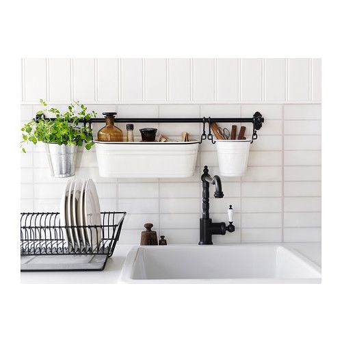 FINTORP Dish drainer IKEA Can be hung on the wall or placed on the worktop. Removable tray underneath; collects water from the drainer.