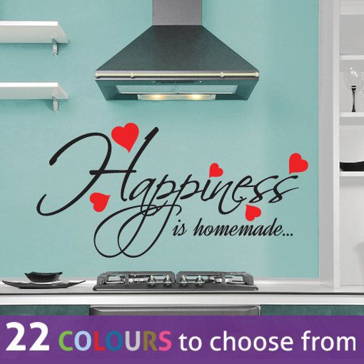 Wall Decal Two colour HAPPINESS is HOMEMADE wall sticker with by LinaGifts, £8.85