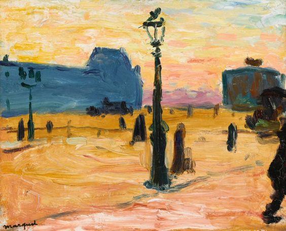 """""""Soleil couchant, cour du Carrousel"""" ou """"Soleil couchant au Louvre"""" (1906), une oeuvre d'Albert Marquet (1875-1947) (Paris 1er)"""