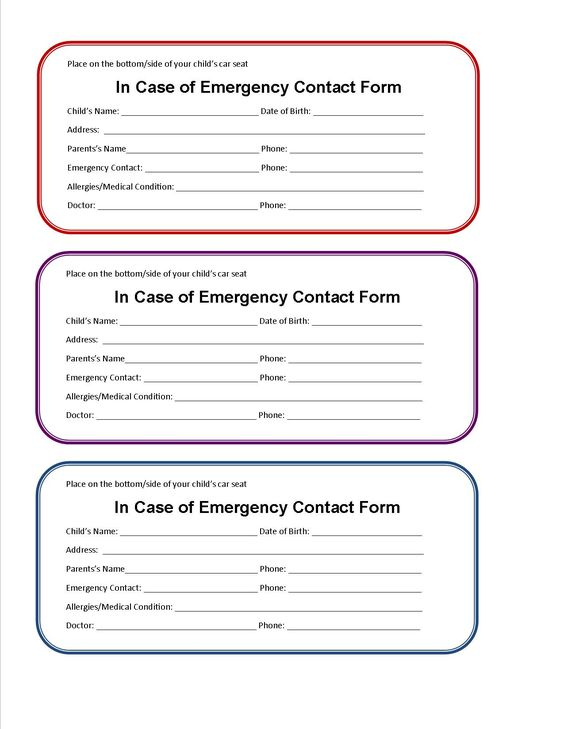 8 Best images about babysitting on Pinterest Cars, Home and - emergency contact forms