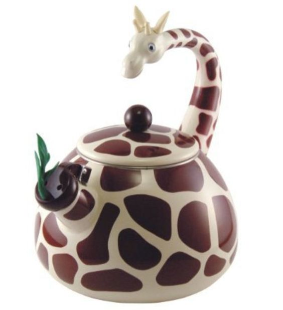 A giraffe and a tea kettle. Life could not be more perfect.