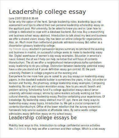 Leadership Essay 7 Free Samples Examples Format Download College Essay Essay College Essay Examples