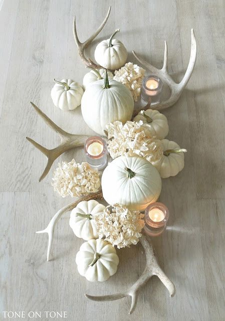 stunning fall centerpiece by tone on tone with muted colors, antlers, white pumpkins, and white hydrangeas.: