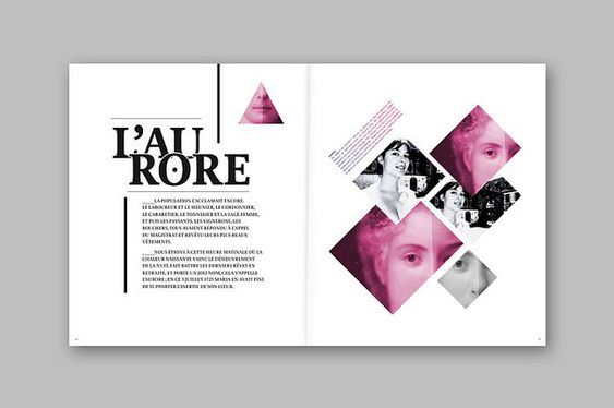 This is a really nice layout. Type wise, I love the treatment. Image wise, I love the shapes and opacity. I would like to do something like this- with the rectangles and squares in such. Looks really nice.