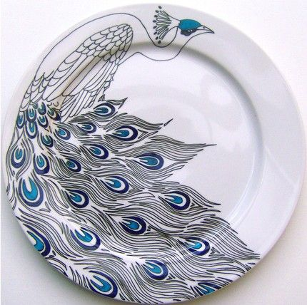 eeeek —I wish I could do this.  hand drawn peacock serving place by jim bob art. \\
