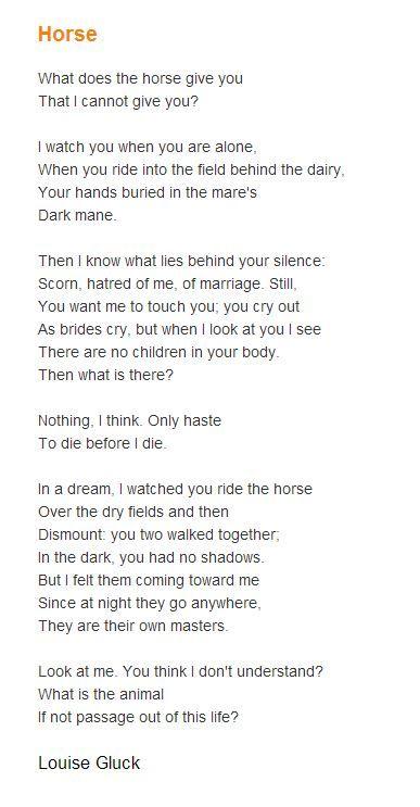 Horse -- Louise Gluck