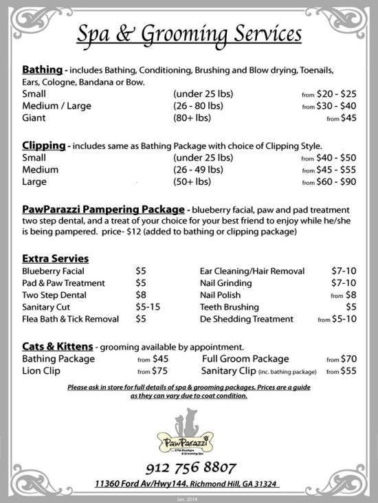 Pawparazzi Grooming Boutique Richmond Schares Price List
