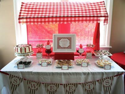 Italian Desert Table- I love this from the checkered awning down to the pennant flag!
